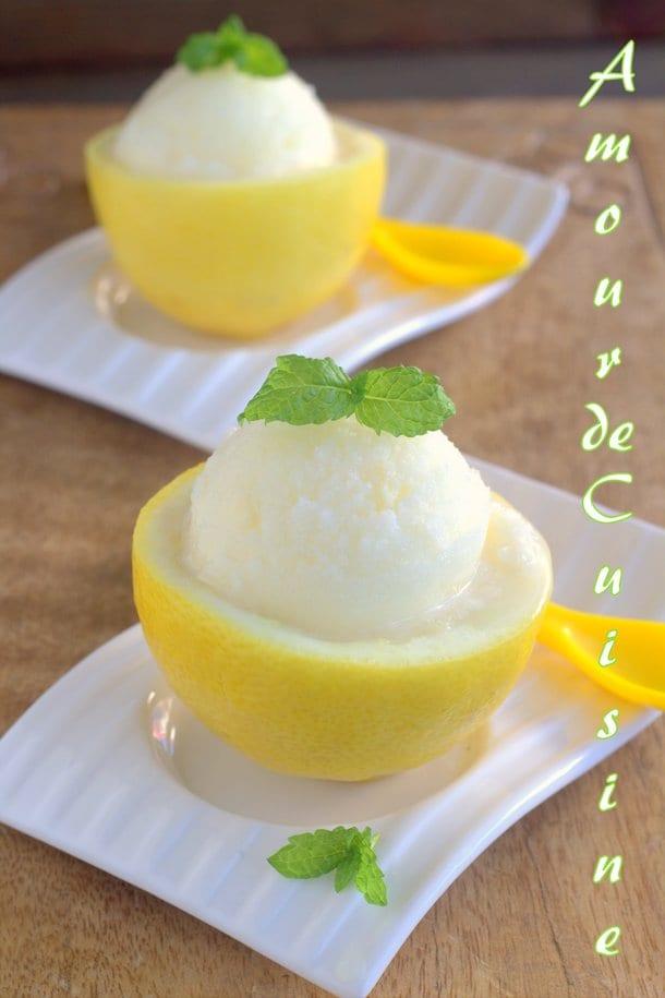Créponné sans oeuf Sorbet au citron