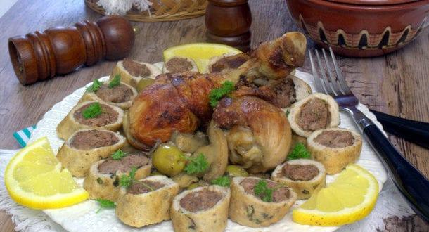 tajine de champignon roulé de poulet a la viande