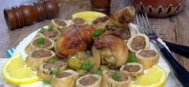 tajine de champignon-roulé de poulet a la viande