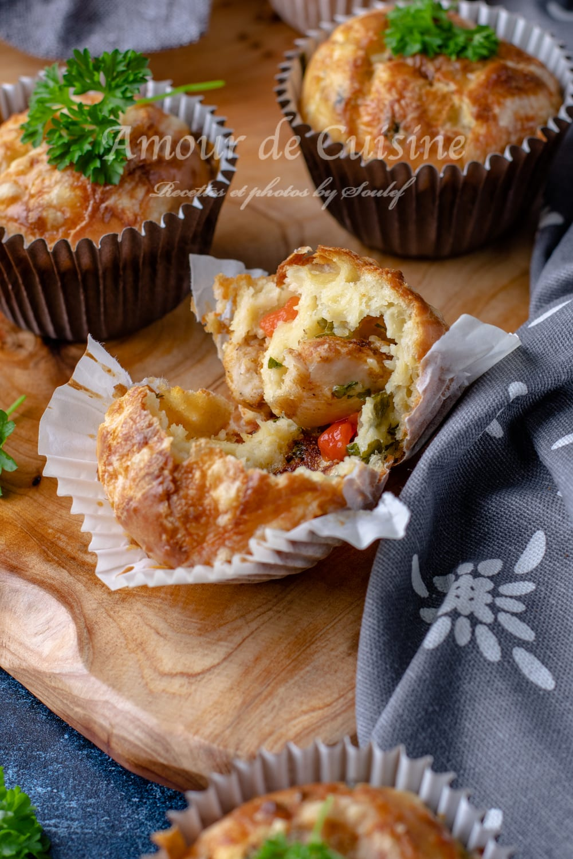 Muffins salés au blanc de poulet