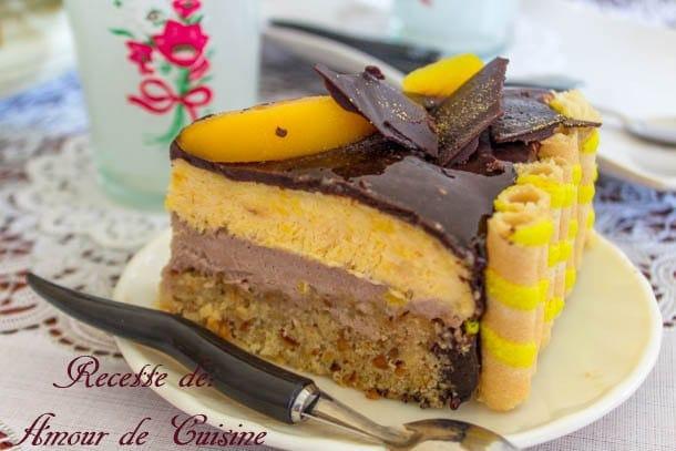 bavarois peche chocolat et miroir au chocolat 2