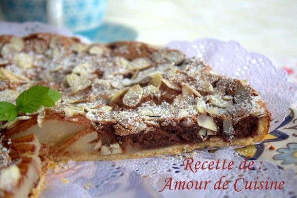 Tarte poires et chocolat de stephane glacier amour de cuisine - Recette amour de cuisine ...
