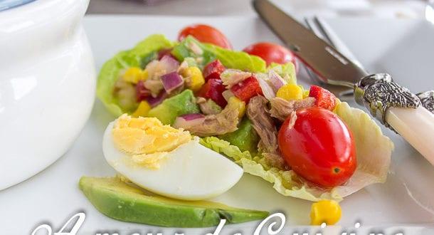 salade variée poivrons thon et avocat