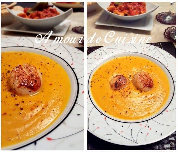velouté de carottes aux noix de saint jacques