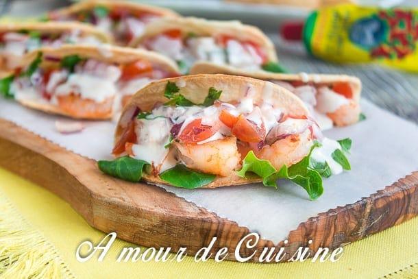 Mini Tacos aux crevettes et salsa