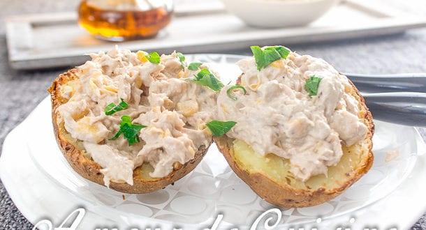 pomme de terre au four et rillettes de thon