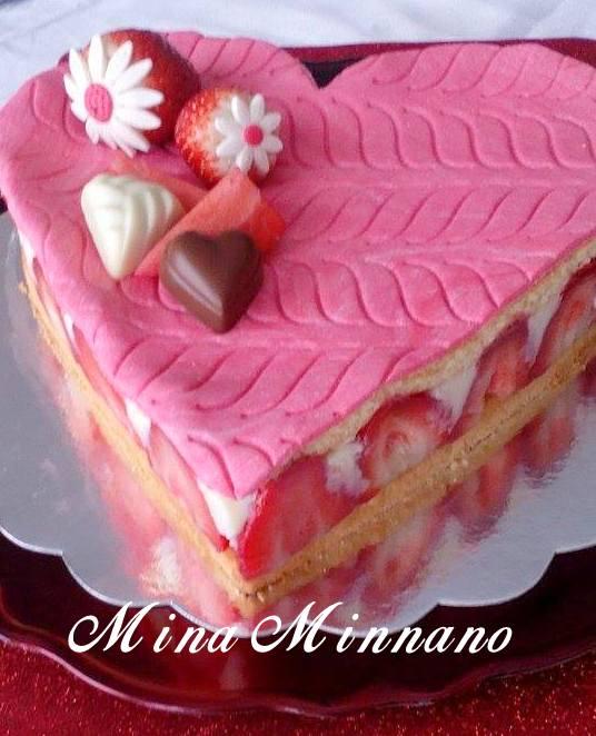 recette de fraisier classique en forme de coeur