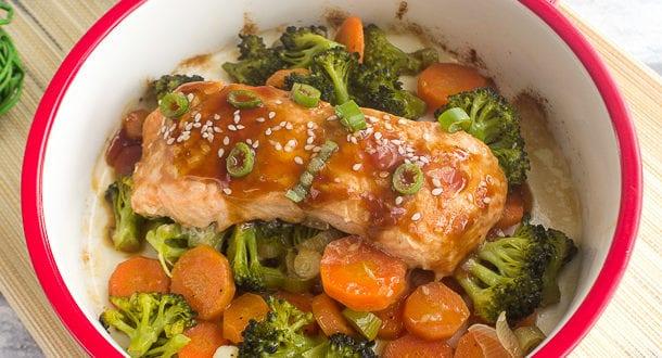 saumon teriyaki aux légumes