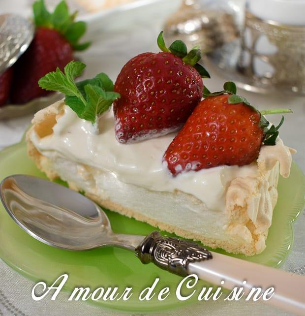 Pavlova aux fraises amour de cuisine for Amour de cuisine basboussa