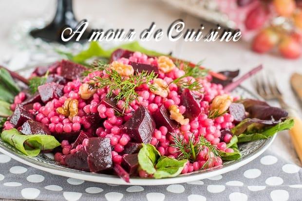 Salade de couscous perl aux betteraves amour de cuisine - Comment cuisiner les feuilles de betterave rouge ...