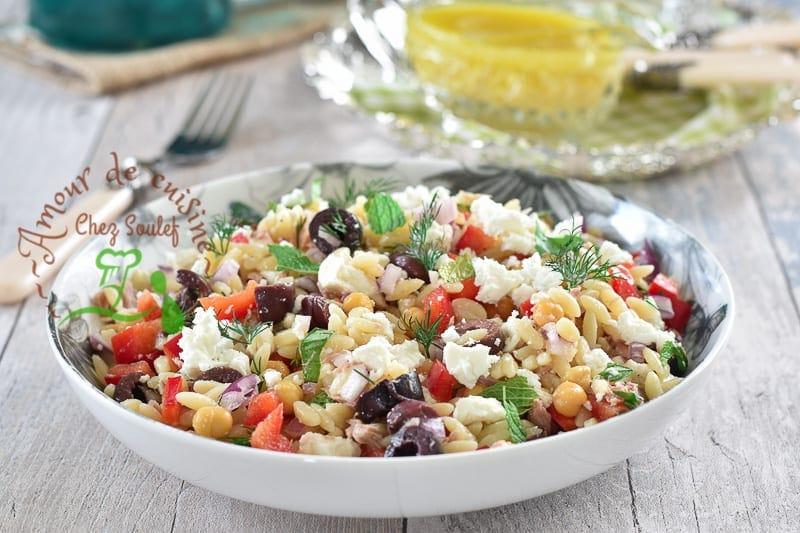 Salade d'orzo au féta, salade de pâtes facile
