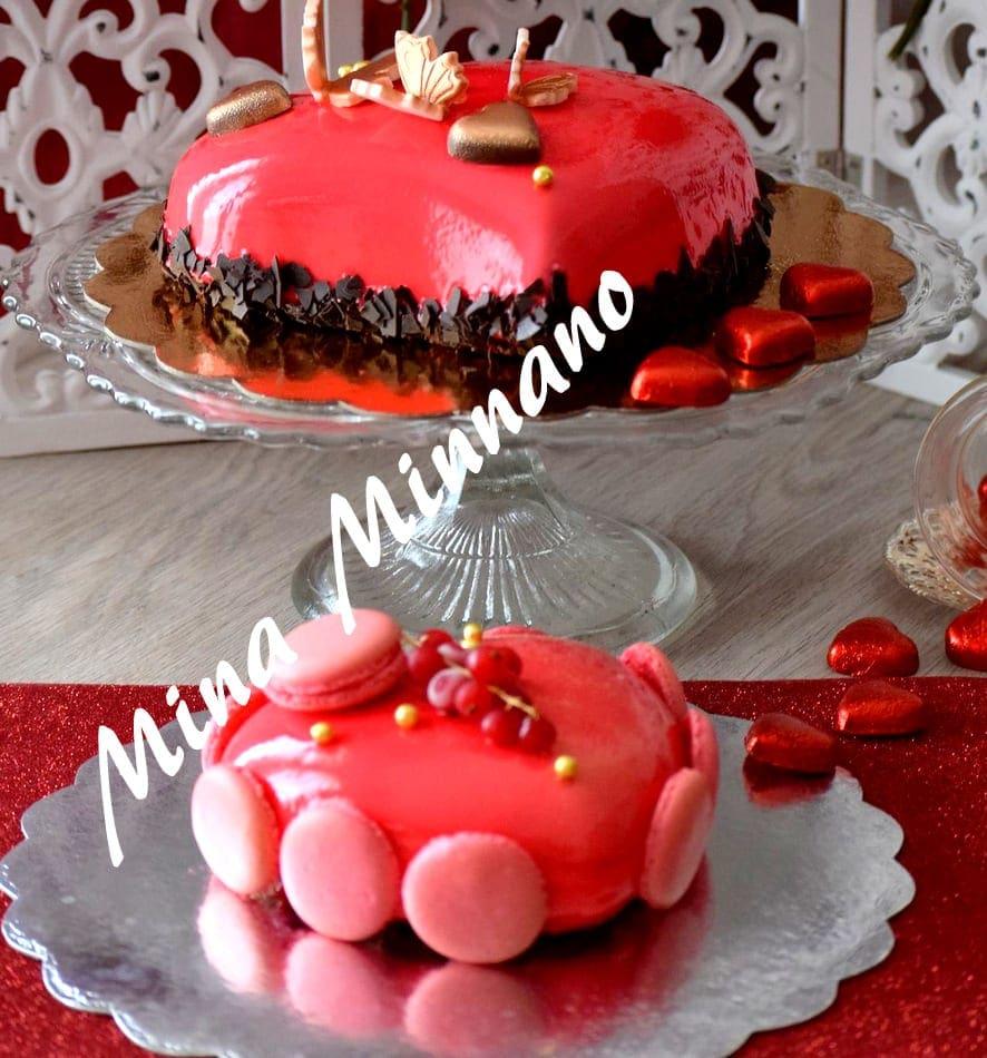 Entremet coeur d 39 amour gla age miroir rouge amour de cuisine for Glacage miroir 2 couleurs