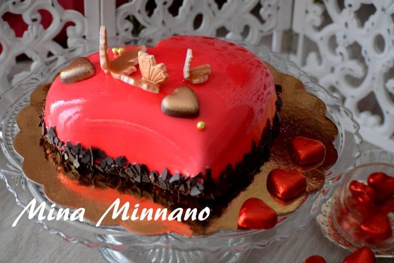 Entremet coeur d 39 amour gla age miroir rouge amour de cuisine for Glacage miroir rouge