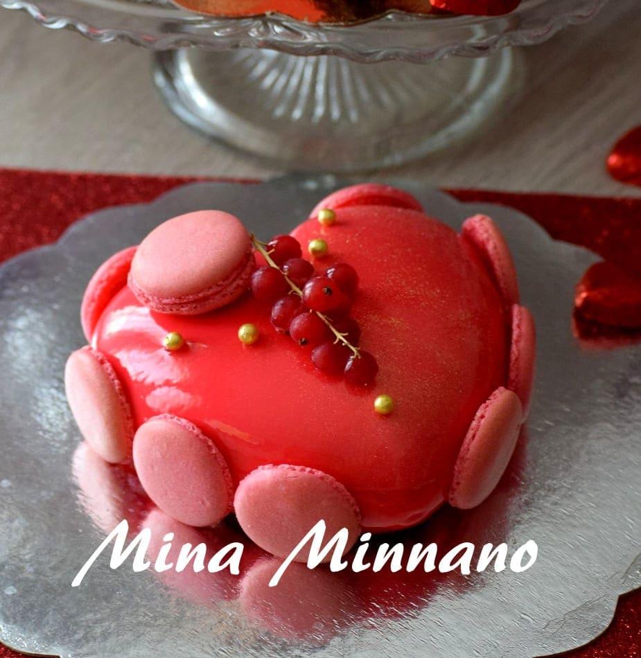 entremet coeur d'amour glaçage miroir rouge 3