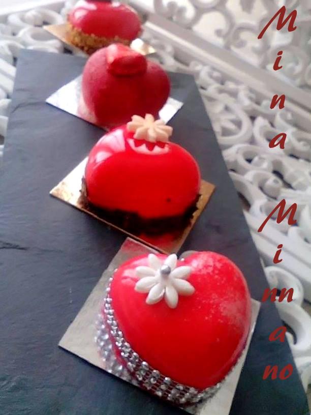 entremet coeur d'amour glaçage miroir rouge 4