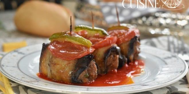 Roulés d'aubergines à la viande hachée