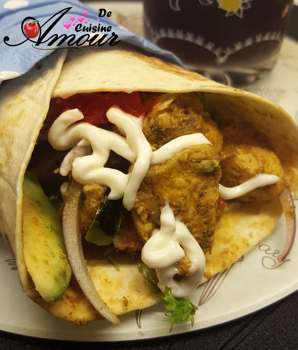 les fajitas au poulet, les wraps ou les tortillas au poulet 1