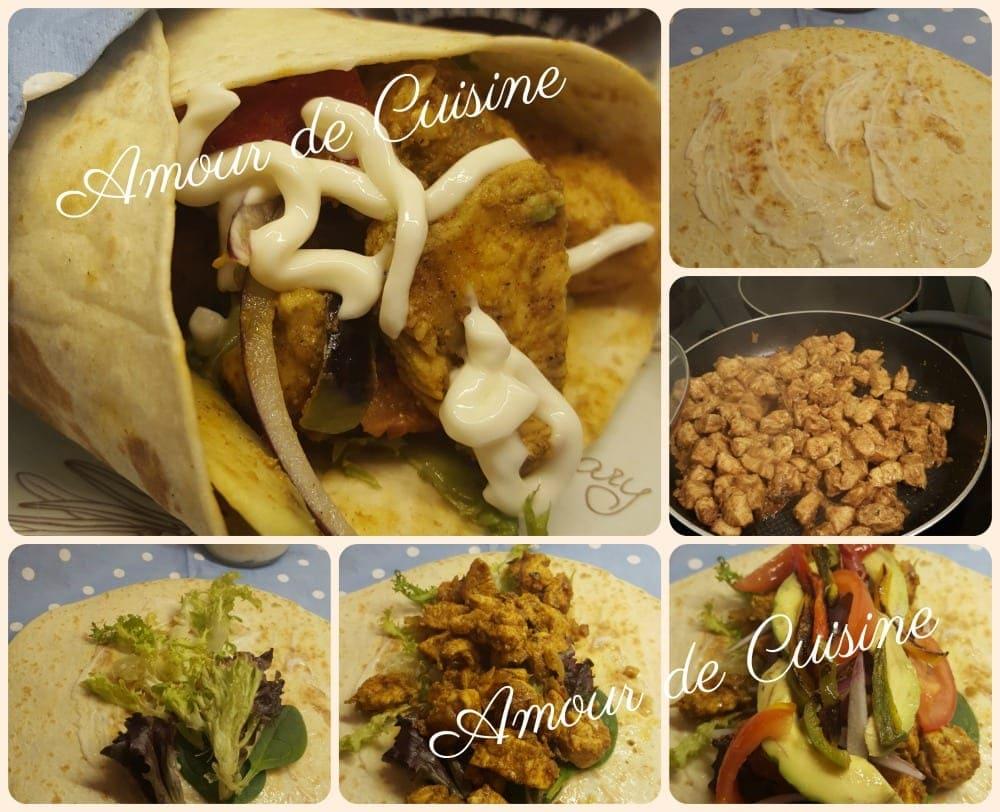 les fajitas au poulet, les wraps ou les tortillas au poulet