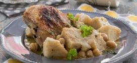 tajine de poulet aux topinambours, batata terfas sauce blanche