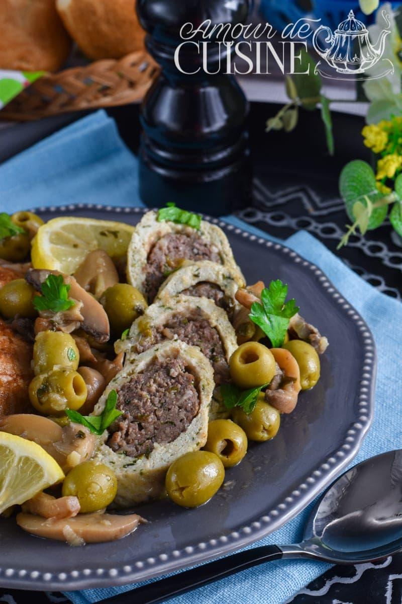 tajine de roulé de poulet à la viande aux champignons 1