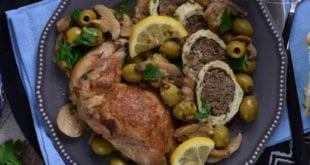 tajine de champignon et roulé de poulet à la viande hachée