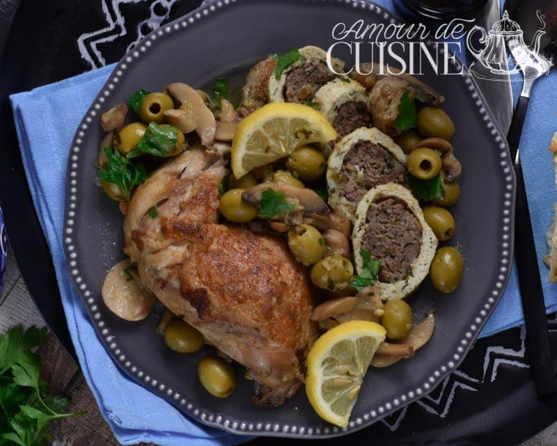 tajine de roulé de poulet à la viande aux champignons