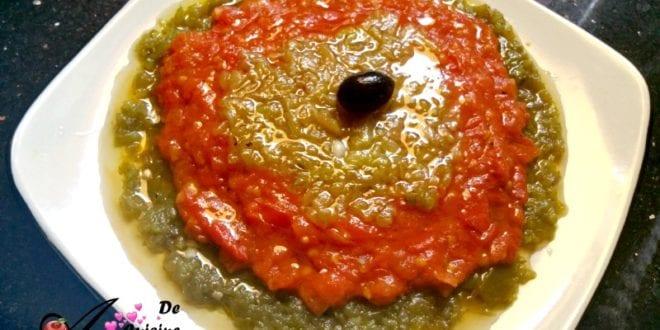 Hmiss en 3 couches, salade de poivron et piment en sauce tomate