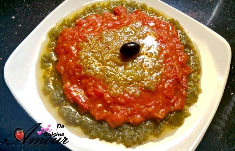 Hmiss en 3 couches salade de poivron et piment en sauce tomate