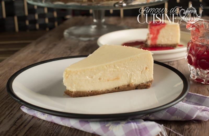 Cheesecake New-yorkais avec son coulis de fraises 1