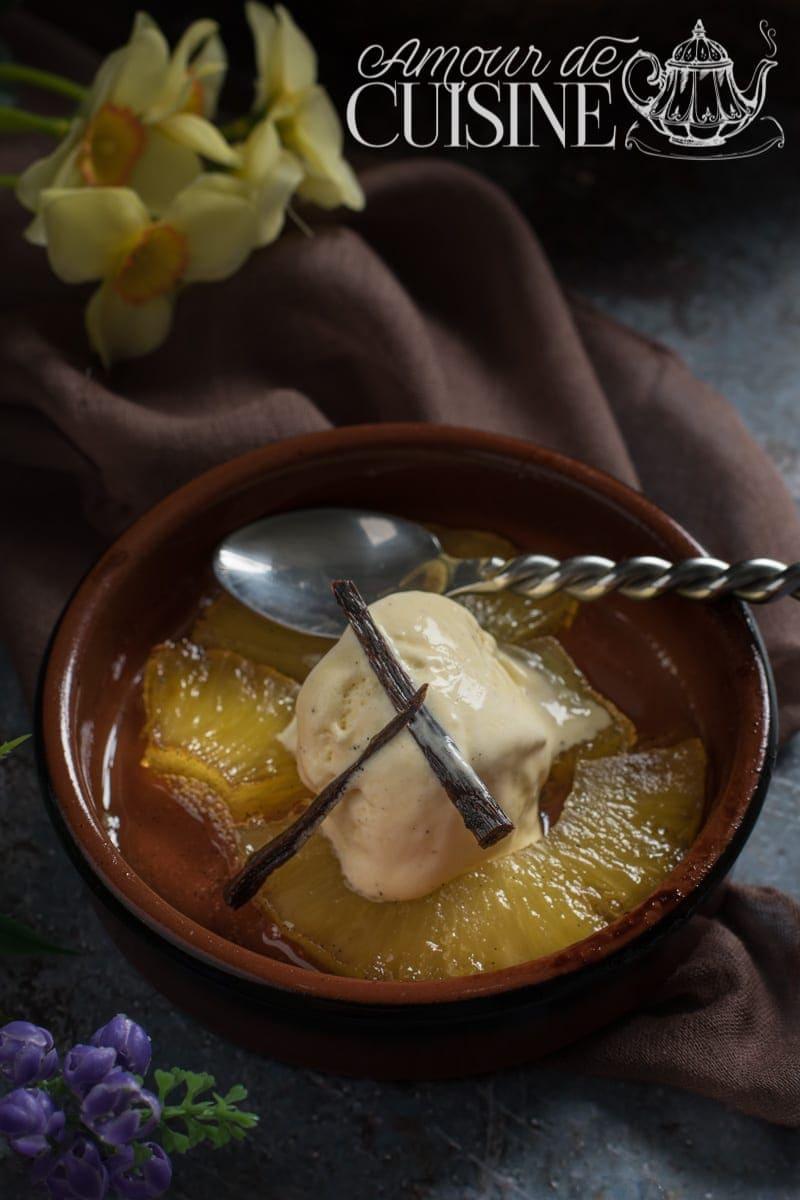 Ananas rotis au caramel a la vanille