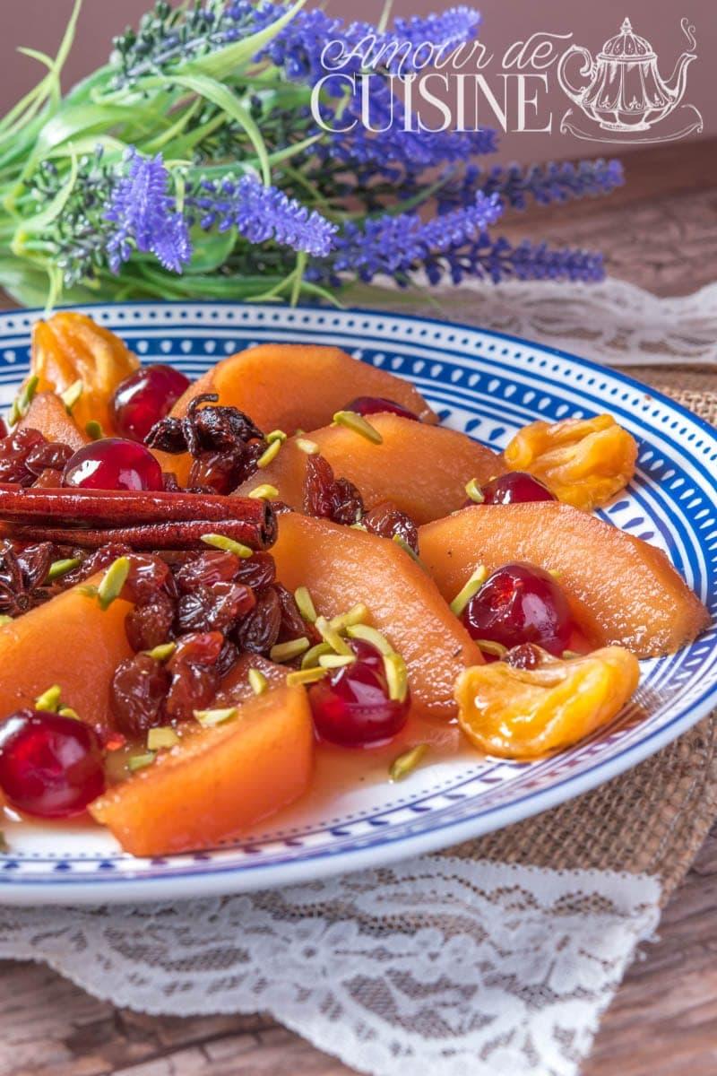 tajine de coings au poulet mariné ou sans-chermoula sucré salé
