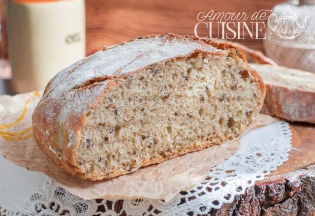 pain en cocotte sans pétrissage aux graines de lin 1