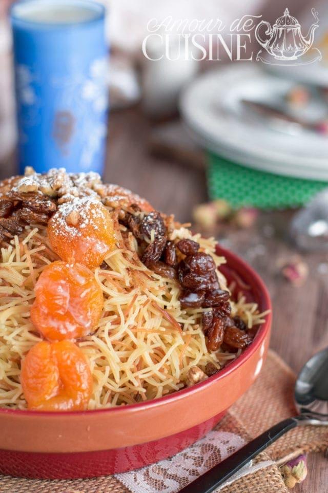 recette de seffa sucrée avec du vermicelle ou cheveux d'ange