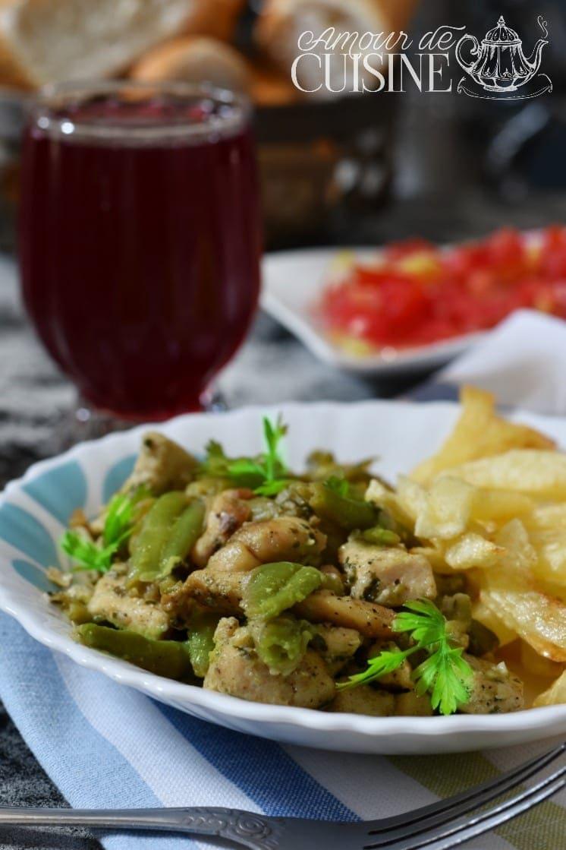 Poêlée de poulet et haricots verts