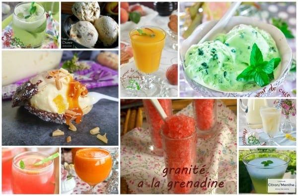 desserts, crèmes glacées et boissons fraîches d'été