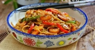 recette de nouilles sautées aux crevettes