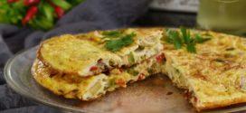 omelette aux poivrons et courgettes