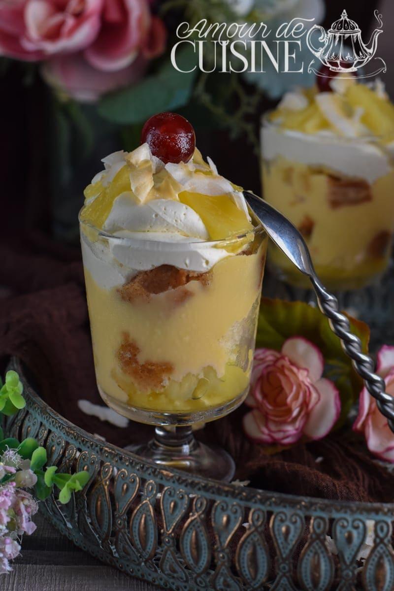 les pina colada trifles, verrines à l'ananas