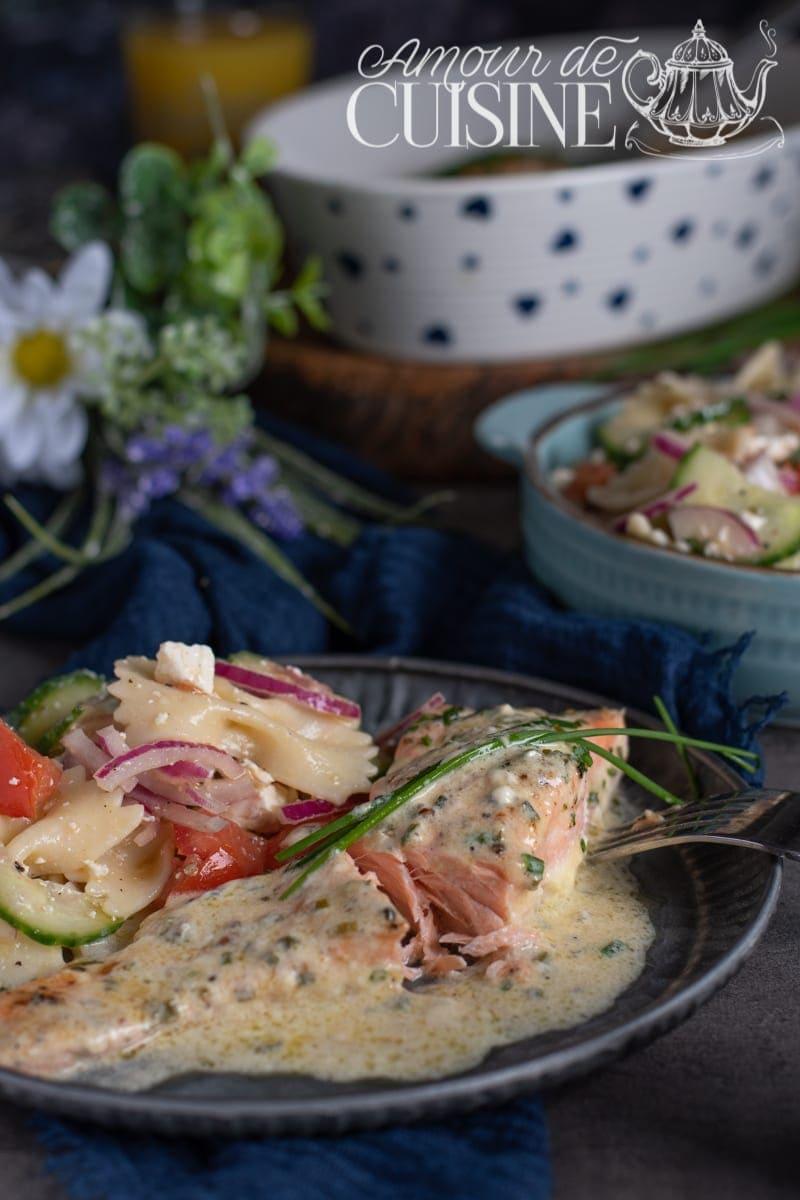 saumon au four à la creme ciboulette