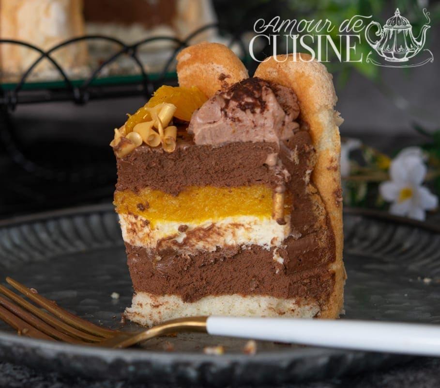 Charlotte au chocolat insert chocolat blanc orange