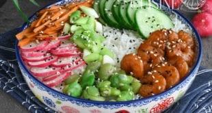 poke bowl aux crevettes marinées