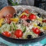 salade composée de riz au féta et thon