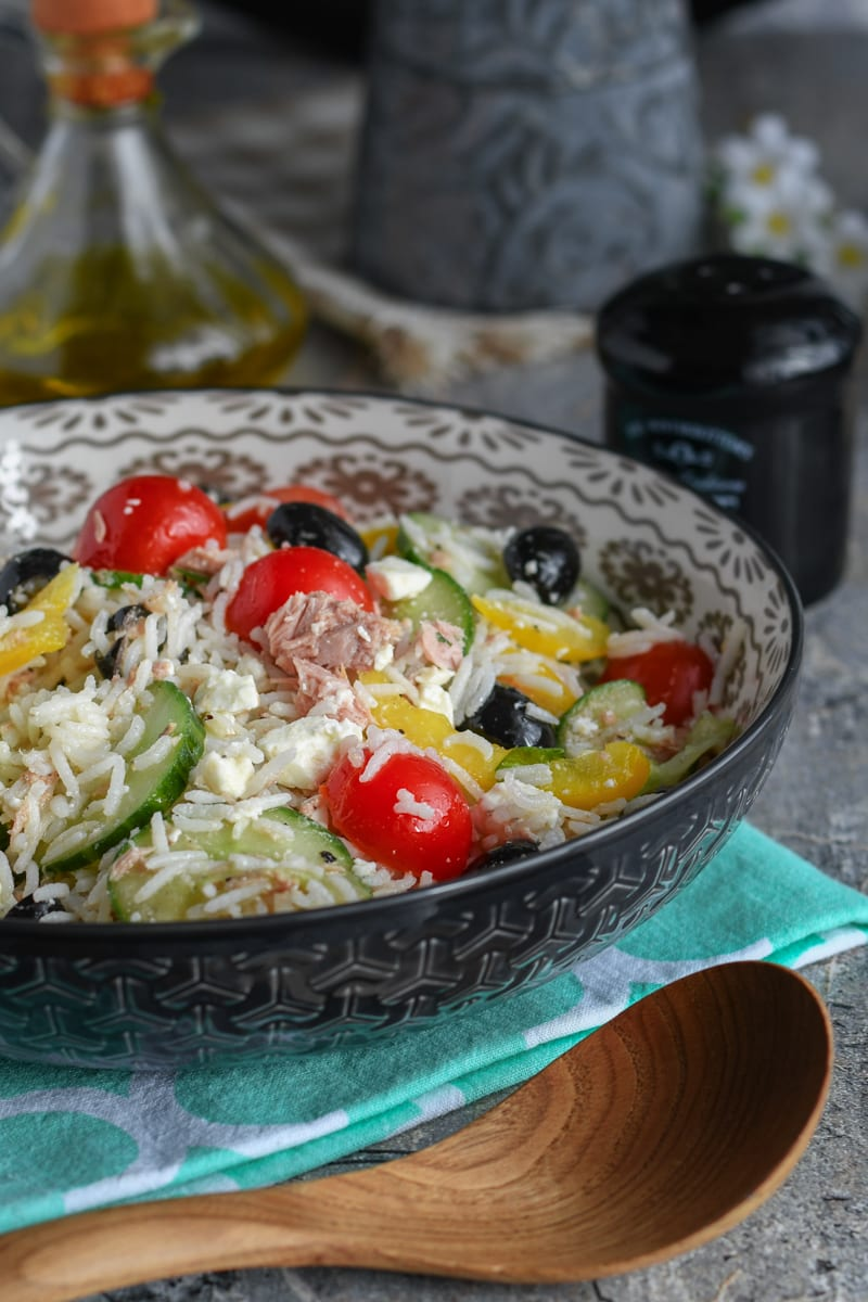 salade composée de riz au feta et thon