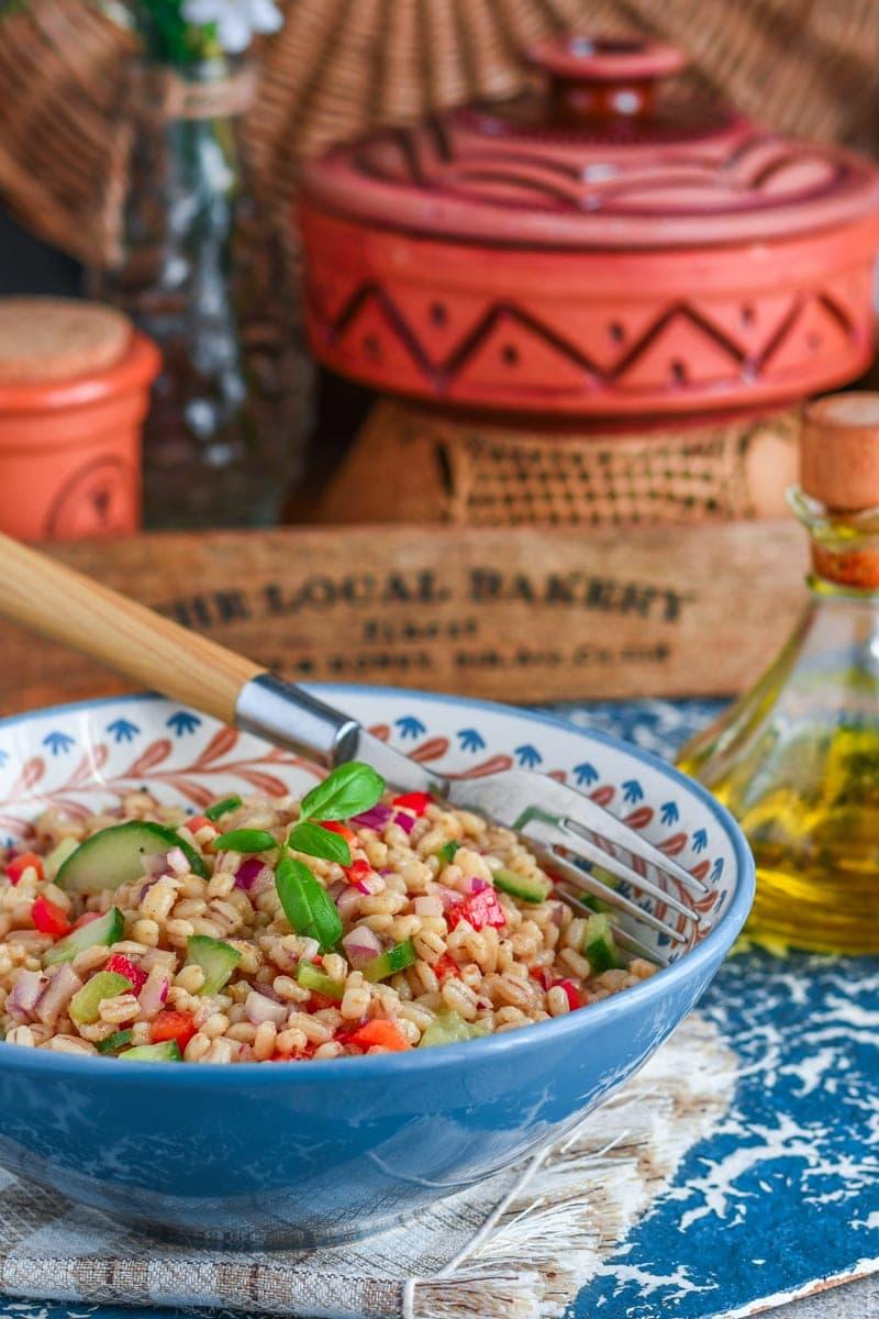 salade composée d'orge au vinaigre balsamique