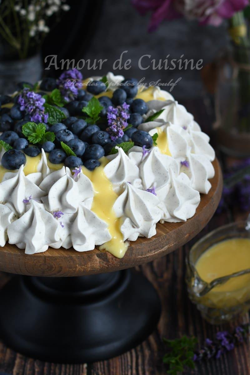 pavlova à la lavande et crème au citron