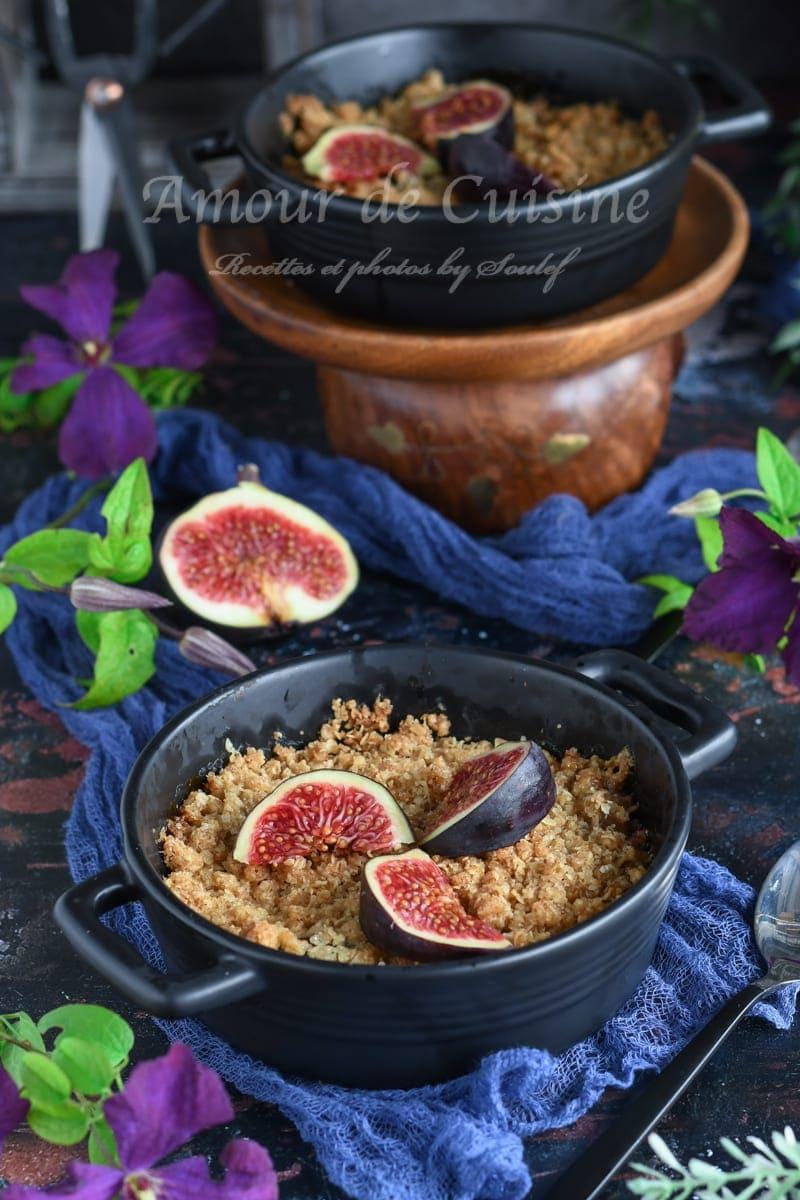 crumble aux figues poires et gingembre