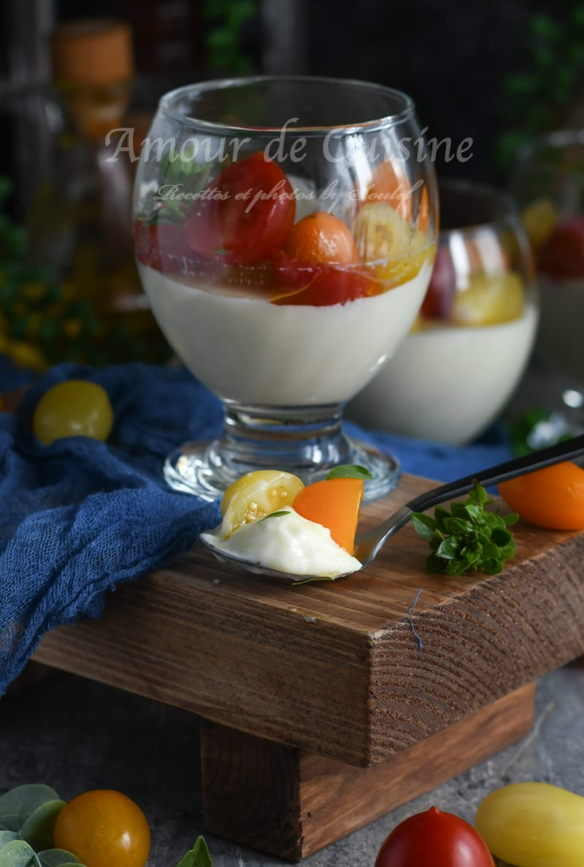 Meli melo sur panna cotta à la mozarella