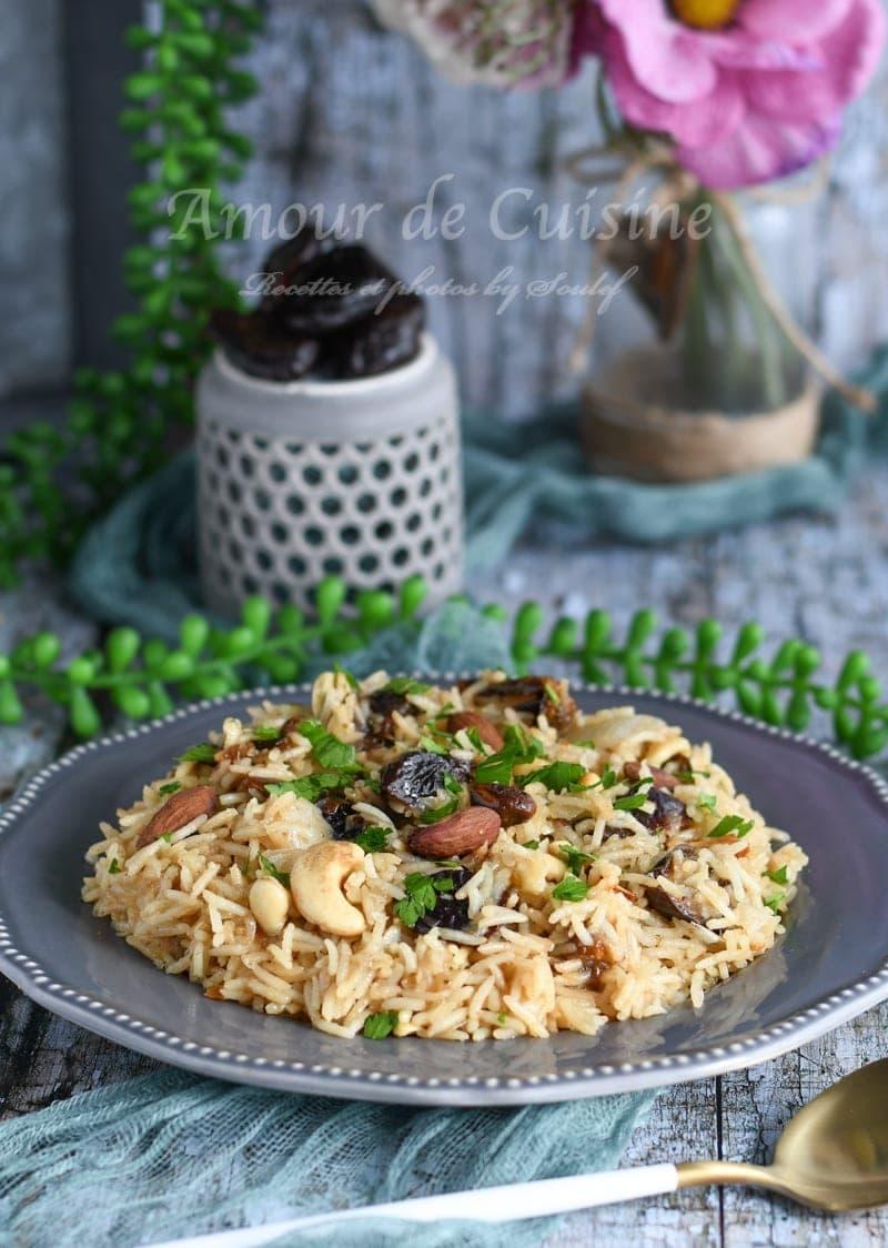 riz pilaf aux pruneaux