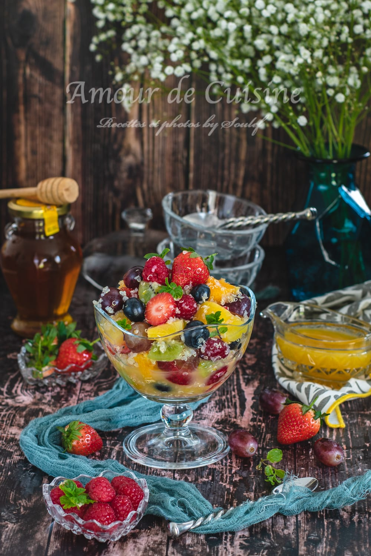 Salade de fruits au quinoa et miel