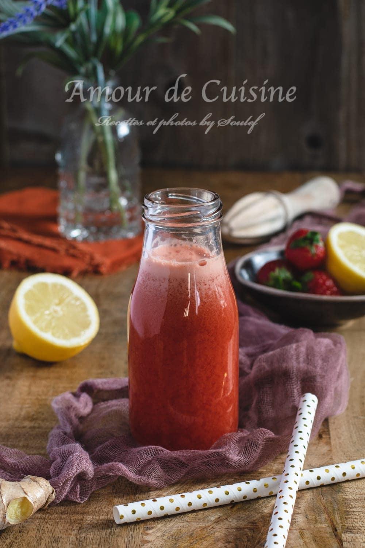 Jus de fraises carottes et gingembre